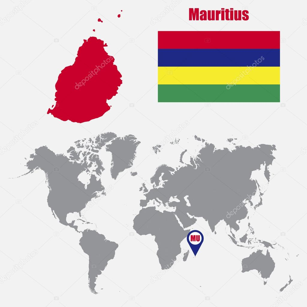 Mauritius Map On A World Map With Flag And Map Pointer Vector
