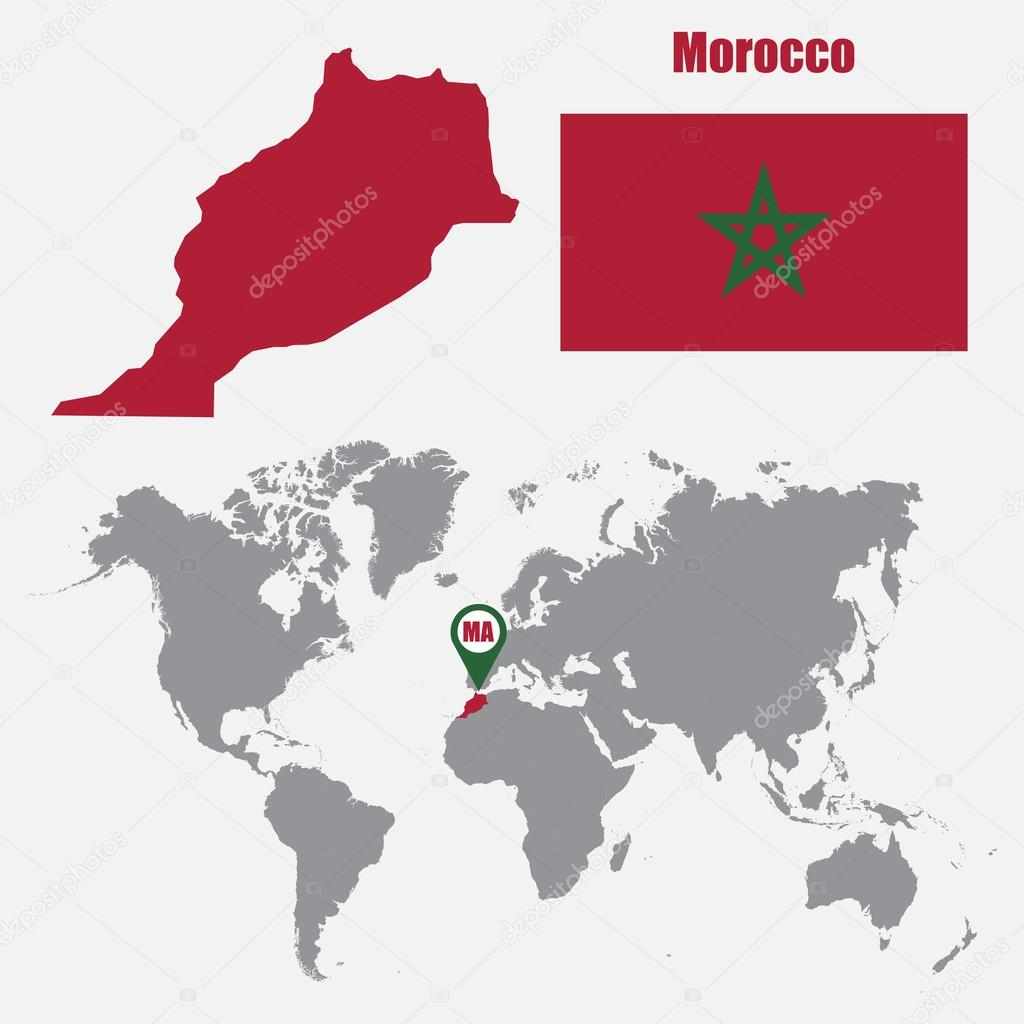 Morocco map on a world map with flag and map pointer Vector