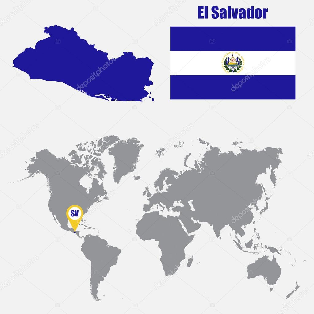 El salvador map on a world map with flag and map pointer vector el salvador map on a world map with flag and map pointer vector illustration gumiabroncs Image collections