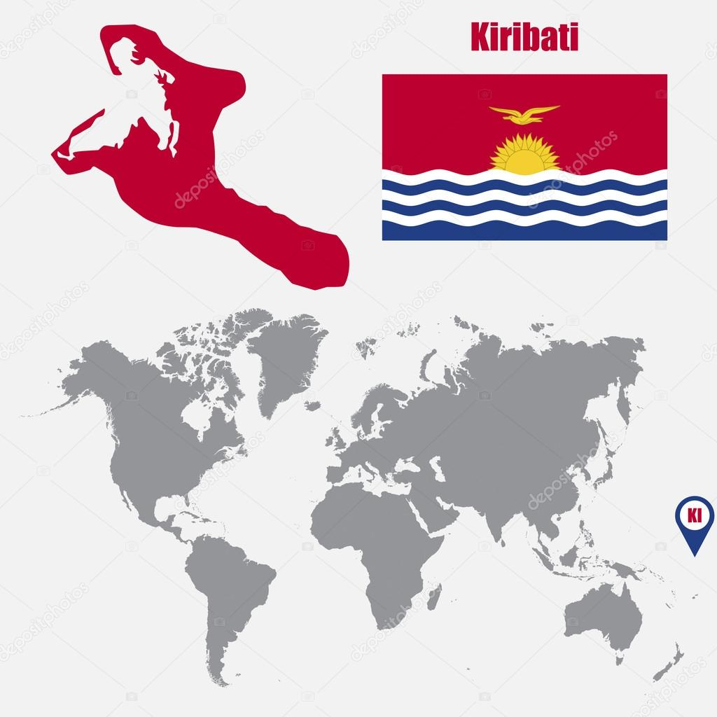 Kiribati map on a world map with flag and map pointer. Vector ... on kiribati pacific island map, south pacific islands world map, islands of kiribati map, marshall islands map, tuvalu world map,