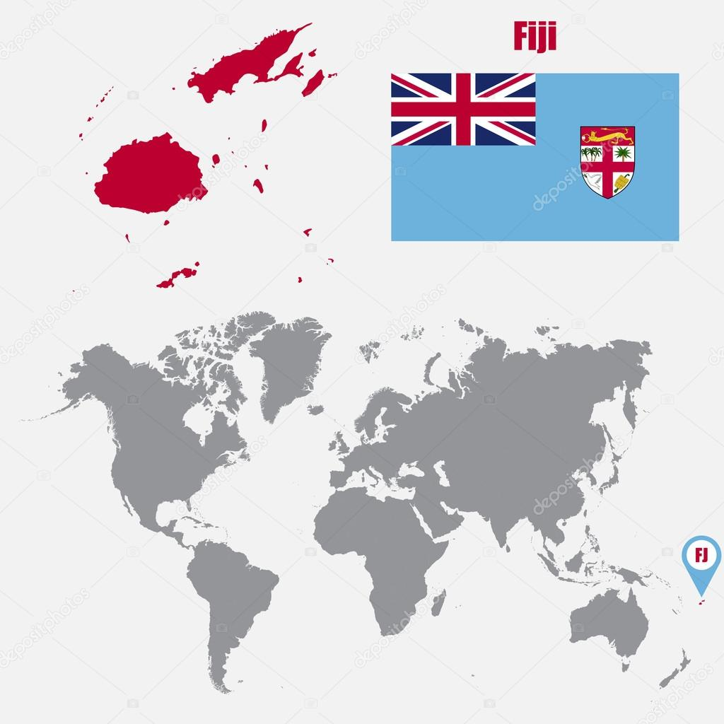 Fiji Map On A World Map With Flag And Map Pointer Vector