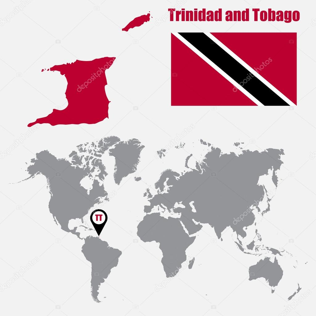 Trinidad And Tobago Map On A World Map With Flag And Map Pointer Vector Illustration Stock Vector C Stas11 122525518