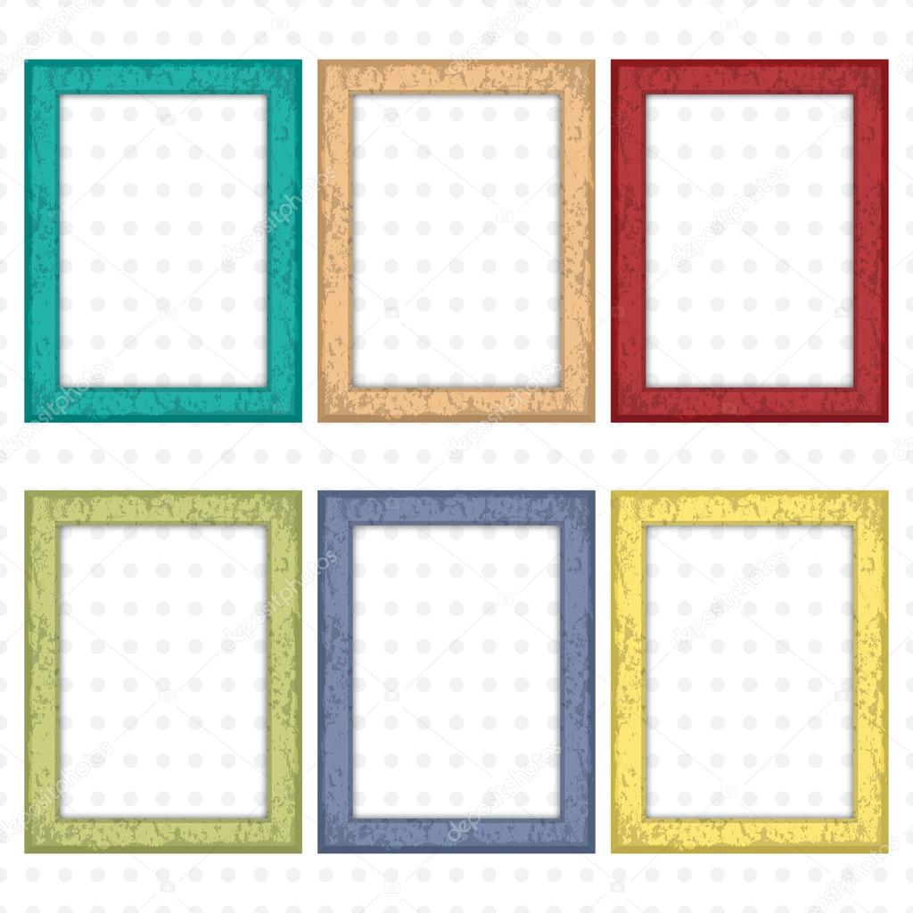 Set of colorful wooden frames. Wooden square picture frames of ...