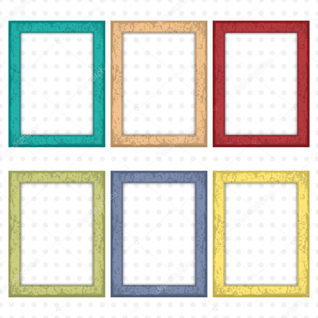 Conjunto de marcos de madera coloridos. Marcos cuadrados de madera ...