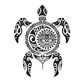 Teknős tetoválás Maori stílusban. Vektoros illusztráció Eps10