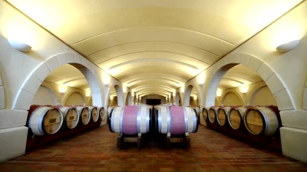 Long shot of a wine cellar with wood barrels and arches. Bordeaux, France.