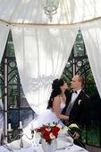 Krásné svatební pár objímání