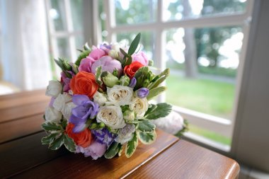 Beautiful wedding colorful bouquet