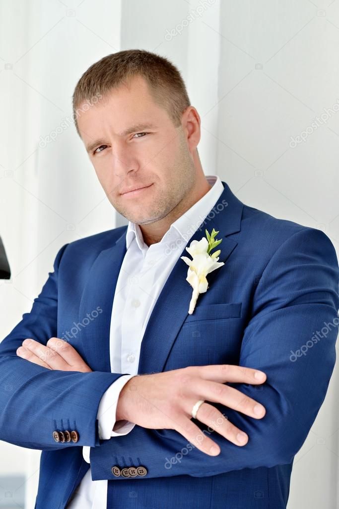 Handsome groom in suit — Stock Photo © pvstory #121772390