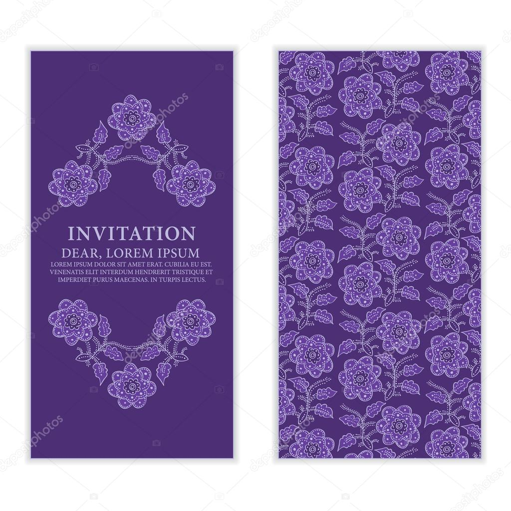 Ethnic Greeting Card Invitation Or Wedding With Lace And