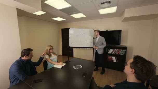 Briefing of young business team in a meeting room