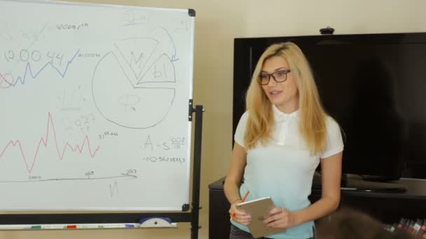 Girl speaks to colleagues at briefing near the white board in the meeting room