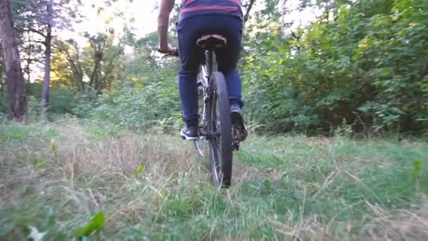 Muž jedoucí na kole v létě parku