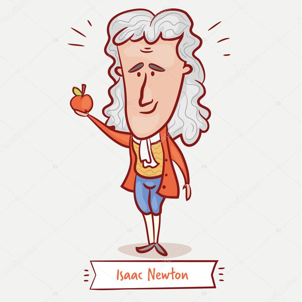 scientist physicist Isaac Newton with an apple