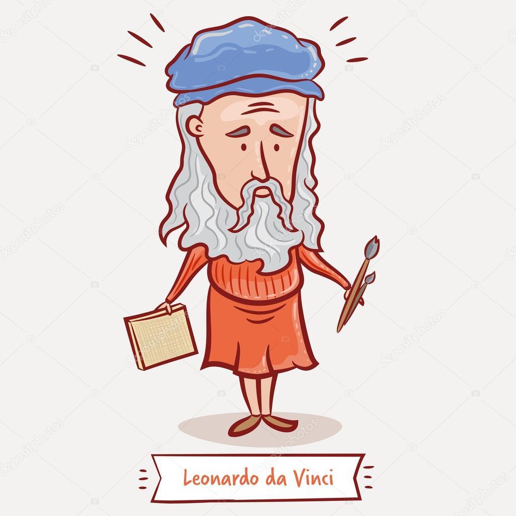 Leonardo da vinci con un lienzo — vector de stock
