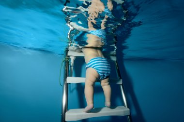 The baby down the stairs into the pool. The view from under the water.