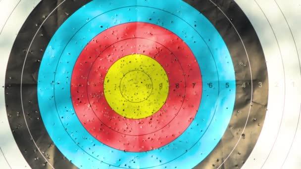 Obiettivo di tiro allarco con feritoie sul bullseye