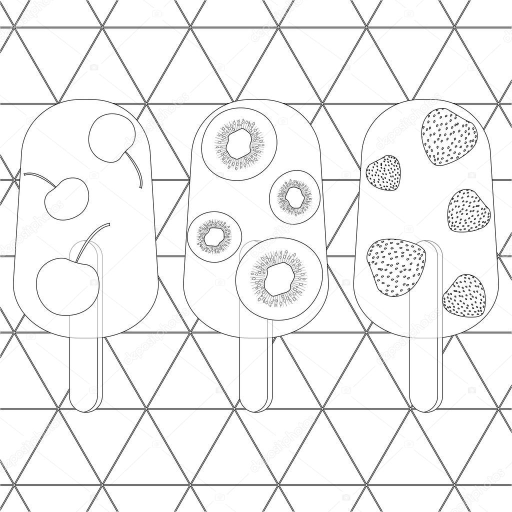Boyama Sayfası Vektör çizim Meyve Dondurma Stok Vektör