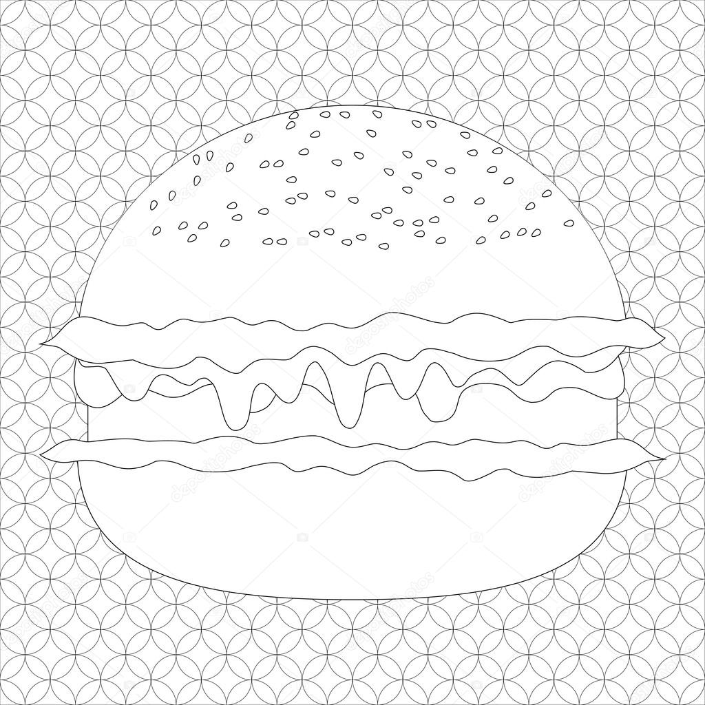 Sayfa Vektör çizim Hamburger Deseni Ile Boyama Stok Vektör