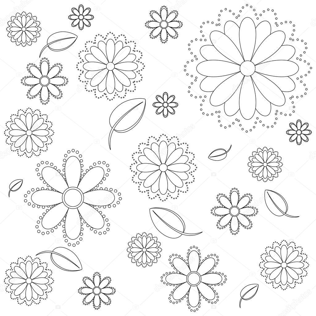 Boyama Sayfası Vektör çizim çiçek Ve Yaprakları Stok Vektör