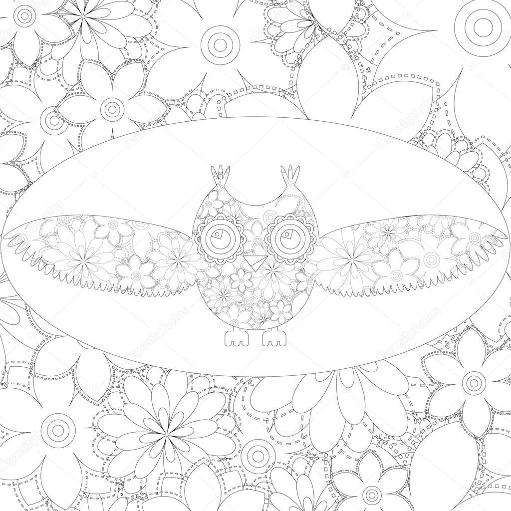 Kleurplaat Pagina Vectorillustratie Van Uil Met Bloemmotief