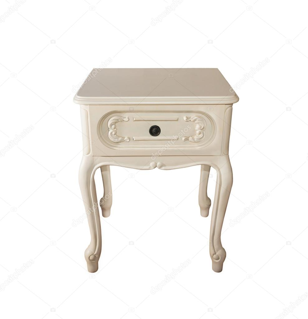 ancienne table de chevet bois bois blanc sculpt photo