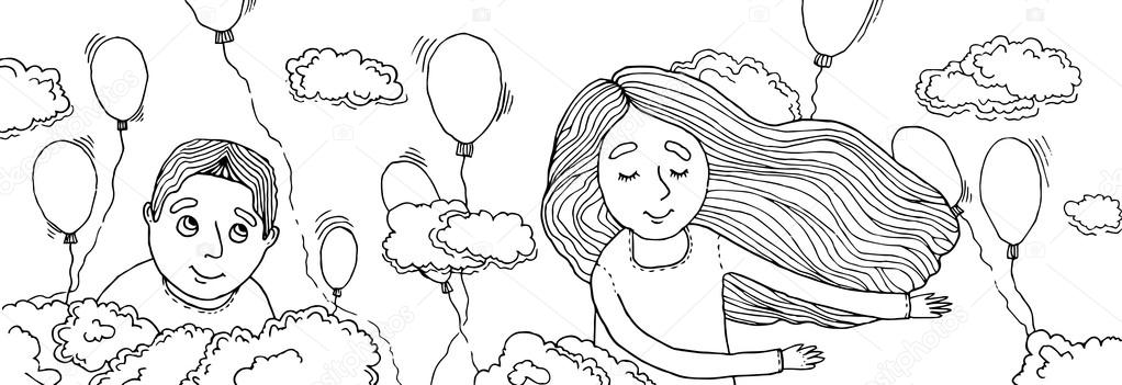 Boy and girl flying in the clouds