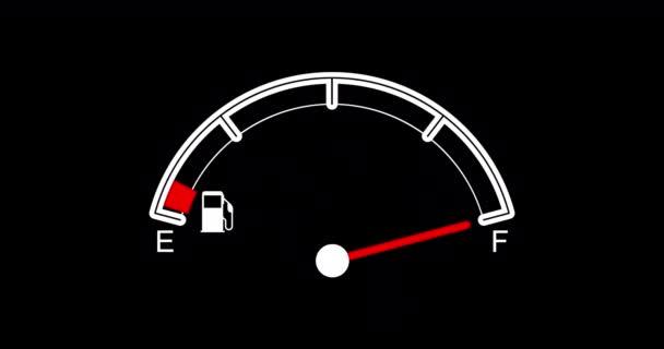 üzemanyagszint-érzékelő a nyíllal és a jelzőlámpával. Az érzékelő nyíl üresből teljes és üres lesz. 4K animáció