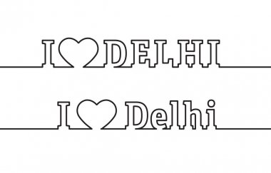 I LOVE DELHI. The name of the capital of the state of India is drawn with contour lines. Flat style icon