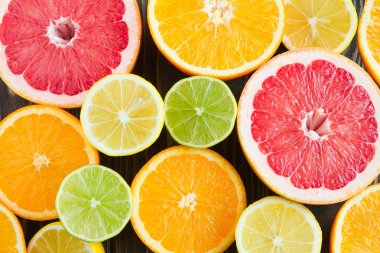 citrus color mix on a dark background