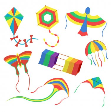 colorful kites set vector illustration isolated on white background