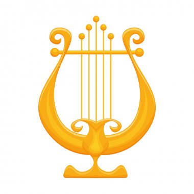 Golden Lyre vector illustration isolated on white background
