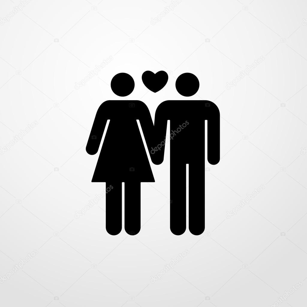 Mann und Frau in Liebe-Symbol. flaches design