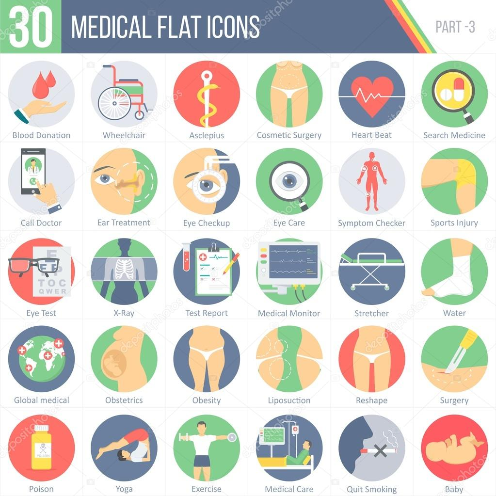 30 Medical Flat Colorful Round Icons