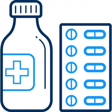 Drugs icon. style is bicolor flat symbol, smooth blue color, rounded angles, white background icon