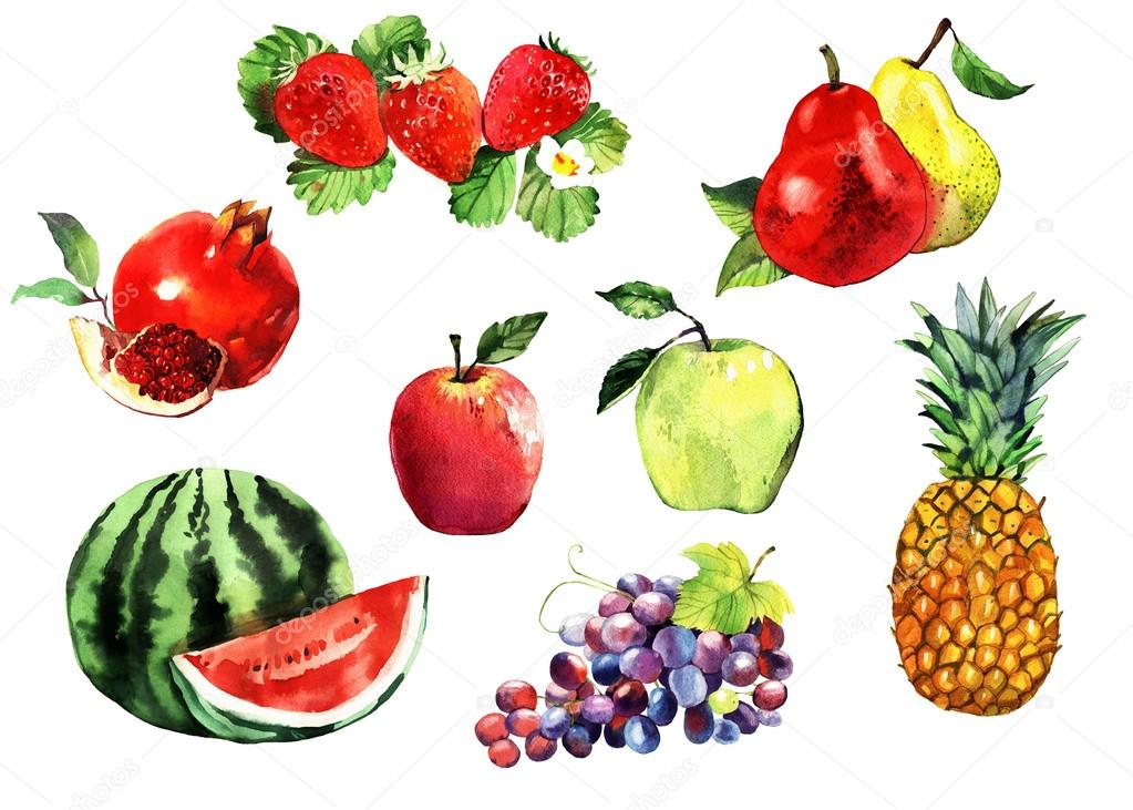 watercolor fruits set, apples, grapes, pineapple, pear, pomegranate, watermelon, strawberry