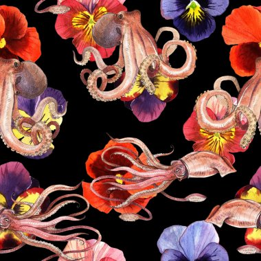 Watercolor squid, octopus