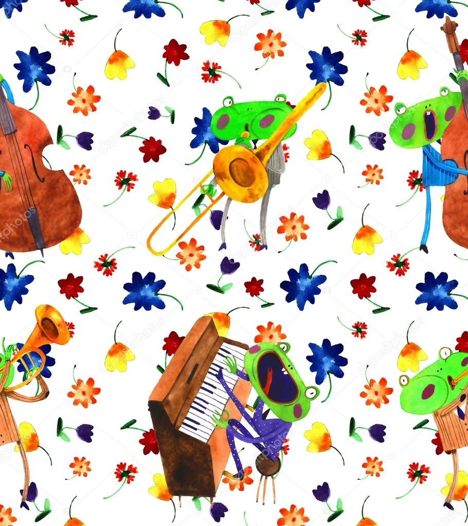 watercolor frog jazz band