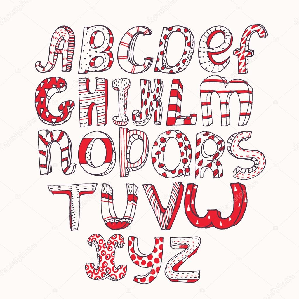 Hand Drawn Black Red And White Capital Letters Alphabet Stylish Simple Geometric Ornate With Stripes Dots Three Dimensional Perfect For Education