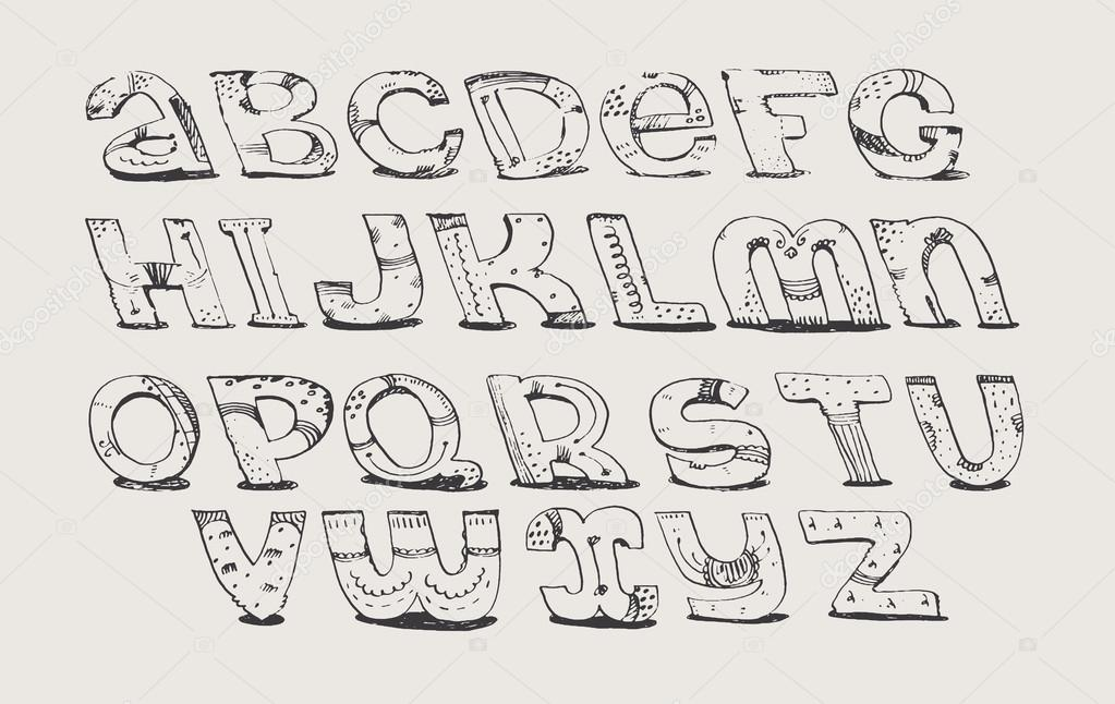 English Hand Drawn Funky Font From A To Z Calligraphy Made With Nib Decorated Grunge Alphabet Painted In Freehand Style Isolated On Light Background