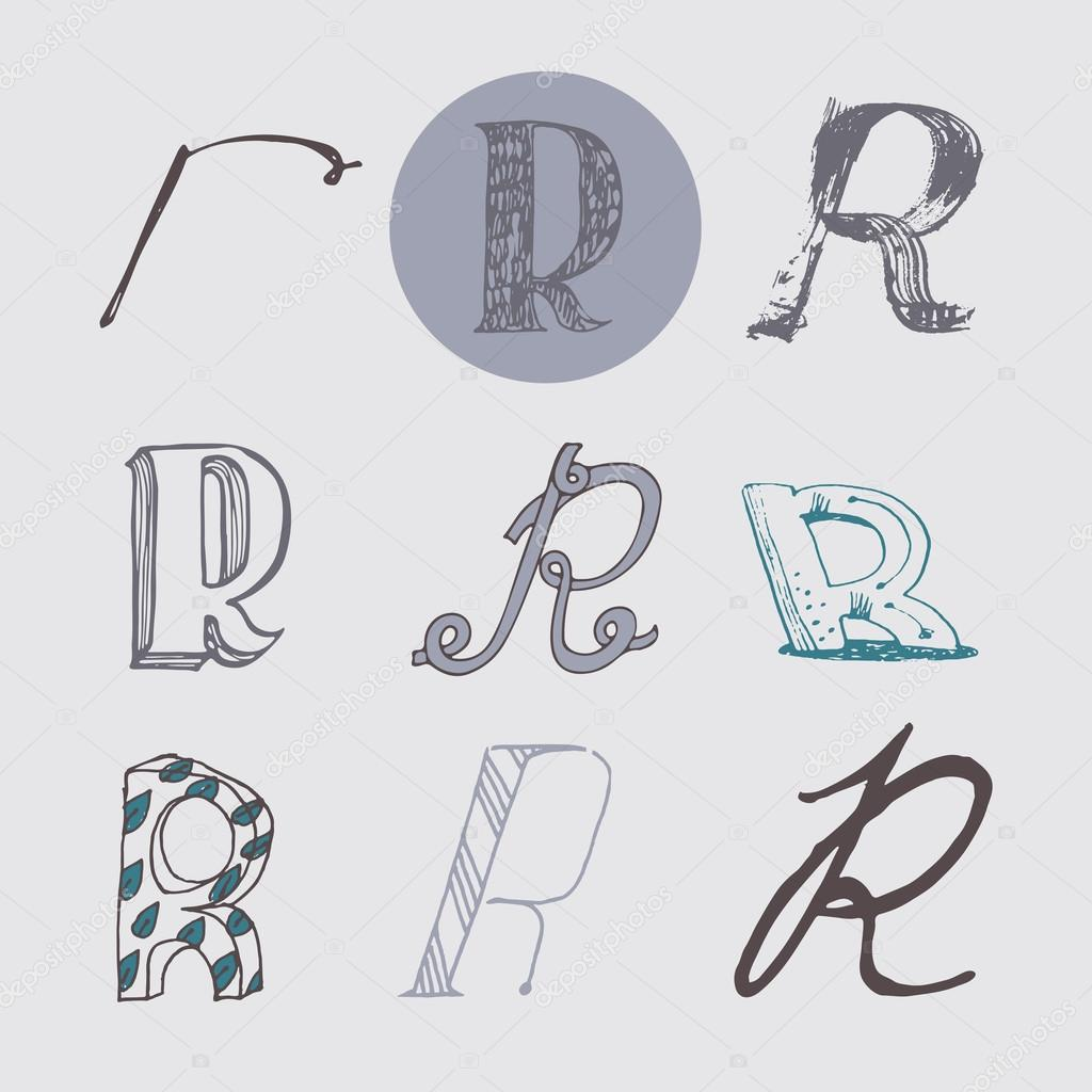 Original letters r set isolated on light gray background alphabet symbols editable hand - Lettre alphabet original ...