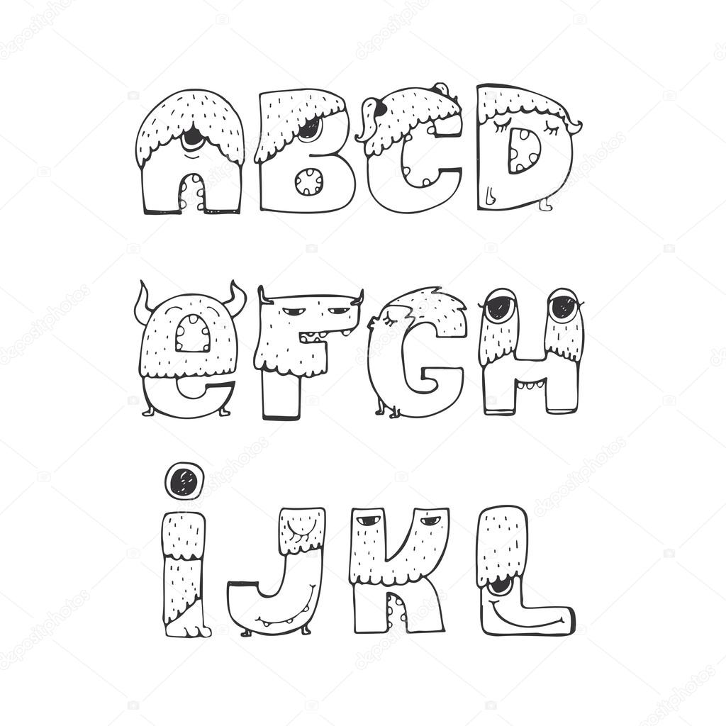 Vector Set Of Fun Funky Monster Font A To L Hand Drawn Black And White Isolated On Good For Lettering Or Design Headers T Shirts Kids