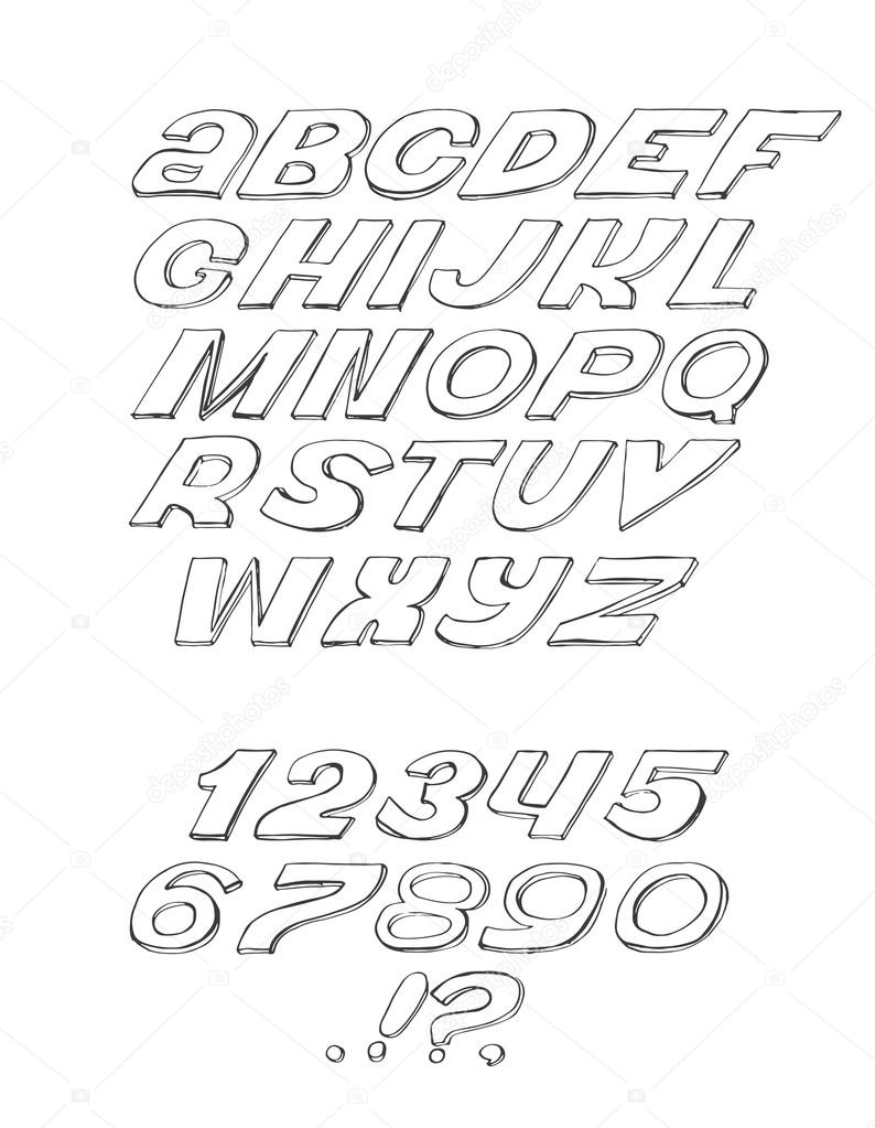 Script Font Cursive Black On White Background Hand Drawn Simple Isolated With Numbers And Punctuation Marks Vector Illustration Can Be Used For