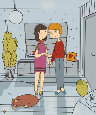 Vector illustration with couple who are staying in hallway of new house, with smile on face, sleeping cat on carpet. Colorful family hand drawn cartoon about love between wife and husband in new flat.