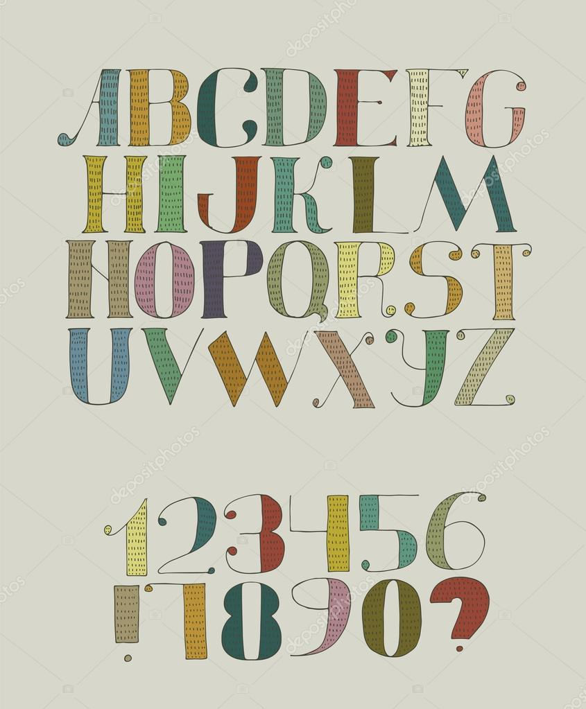 Colorful Funky Vector Illustration With Hand Drawn Font Hatches Abc Letters From A To Z Digits 0 9 Isolated On Background