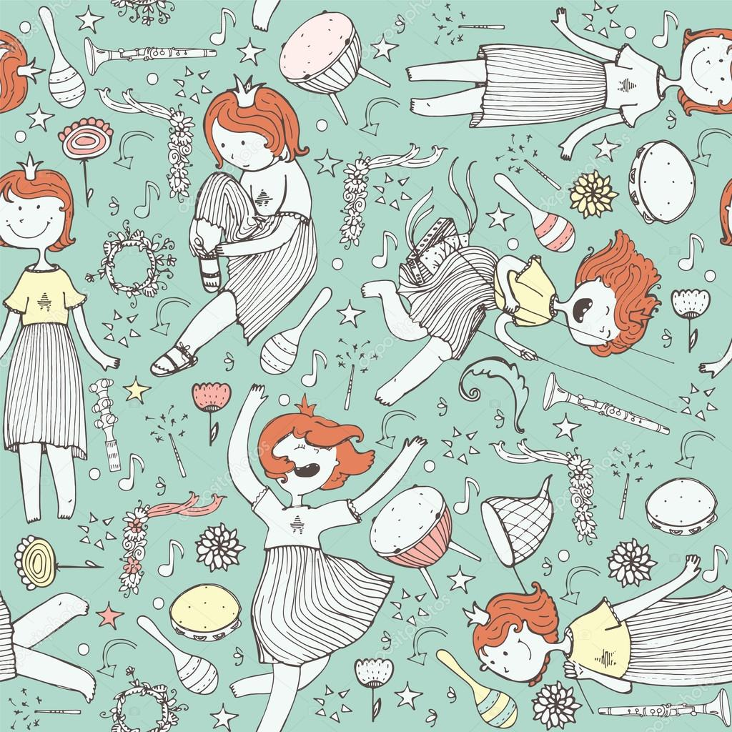 Vector Pattern With Cute Girl Princess Musical Instruments Flowers