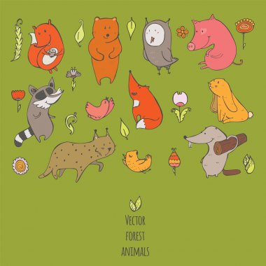 Vector illustration with cute and naive forest animals. Hand drawn colorful set, decorated with flowers and birds, isolated on green. Bear, fox, raccoon, squirrel, owl, beaver, lynx, bunny, pig.