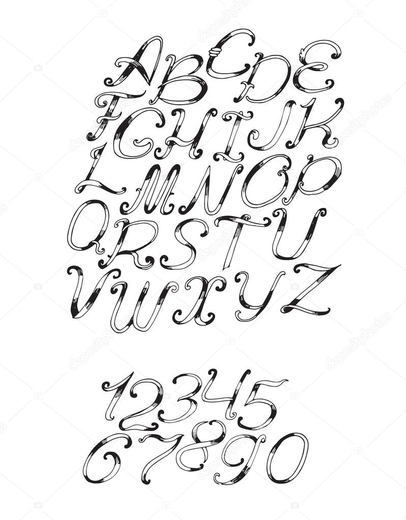 handdrawn vector font in black and white isolated on white