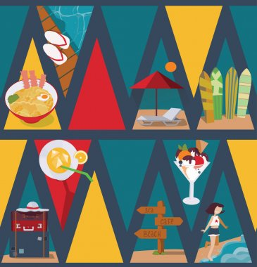 Seamless vector illustration based on colorful bright triangles on dark blue background and vacation objects and girl. Pattern with ice cream, bags, sea and sunbed in blue, red and yellow