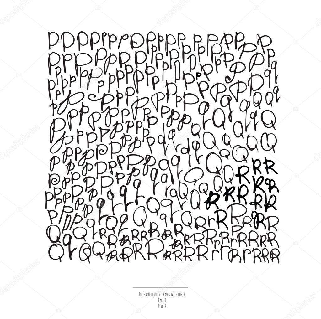 Large Vector Set Of Hand Drawn With Black Liner Letters Isolated On